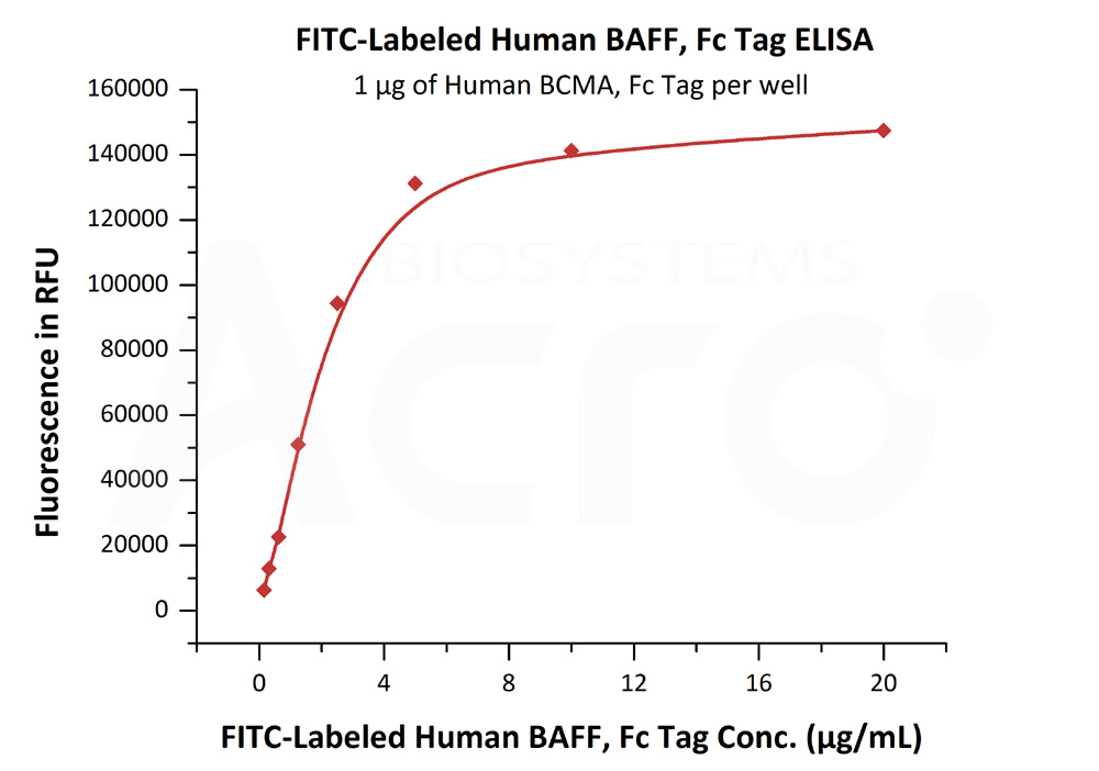 FITC-Labeled Human BAFF, Fc TagFITC-Labeled Human BAFF, Fc Tag (Cat. No. BAF-HF268) ELISA bioactivity